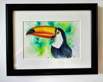 A whimsical Tropical Bird in watercolor, matted and framed.  Available as a print.