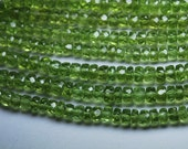 AAA Gems Quality Strand, 8 Inches Strand, AAA Super Rare Peridot Faceted Rondelles Large Size 5-6.5mm
