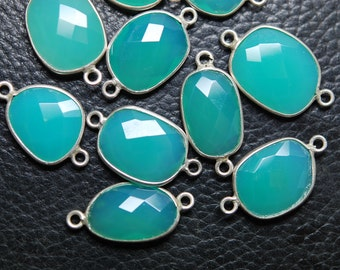 925 Sterling Silver,Chrysoprase Chalcedony Facated Slice Connector,20-22mm