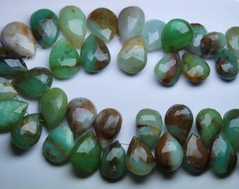 8 Inch Strand,240 Carats,Super Rare Item,Peruvian Green Opal Faceted Pear Shape Briolettes,14-18mm Large