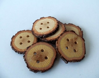 Wood Buttons - Branch Buttons - Slim Handmade Wood Buttons-6 Large Handmade Blackjack Tree branch buttons with the bark-2 inches diameter.