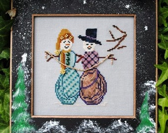 """SALE! Christmas Cross Stitch Instant Download Pattern """"Cool Friends"""" Chart. Snowman Design. Whimsical Counted Embroidery. Beaded X Stitch."""