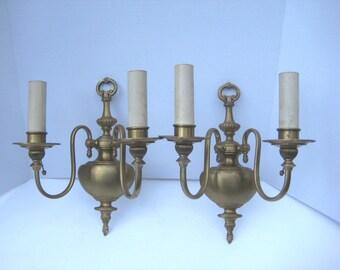 Elegant Electric Wall Sconces : Pr Vintage Two Arm Electric Brass Wall Sconces FEDERAL SHERATON Style URN Detail Elegant ...