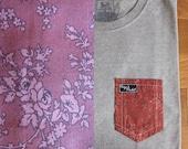 Marron Garden Flower Print Pocket Tee