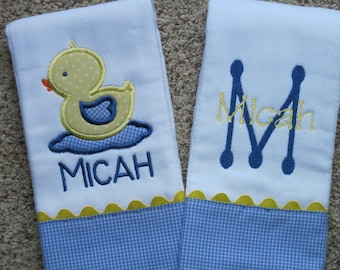 DUCKY Personalized Baby Boy Burp Cloths