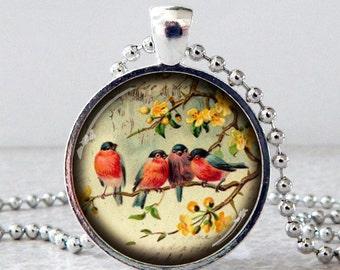 Bird Necklace, Bird Pendant, Vintage Birds Necklace, Blue Bird Pendant, Blue Bird Necklace