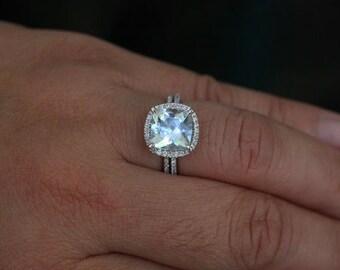 Aquamarine Engagement Ring Aquamarine Ring with Cushion 9mm and Diamond Halo Wedding Ring Set
