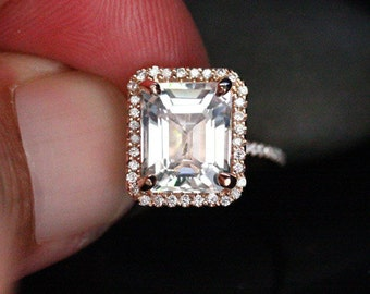 Rose Gold White Topaz Halo Ring in 14k with White Topaz Emerald Cut 10x8mm and Diamonds (Also Available in White Gold)