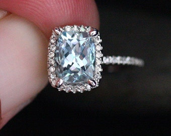 Aquamarine Cushion Ring in 14k White Gold with Diamonds, Engagement Ring, Aquamarine Cushion 8x6mm (Bridal Set Available)