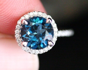 London Blue Topaz Wedding Ring in14k White Gold with Topaz Round 8mm and Diamond Halo Engagement Ring