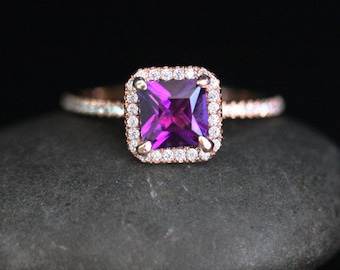 Rose Gold Amethyst Engagement Ring with Princess Cut Amethyst 6mm and Diamond Halo in 14k Rose Gold Ring