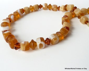 Amber Beaded Necklace -- Czech Glass Beads -- Gunmetal Steel Chain -- Handmade -- Silver-Filled Clasp