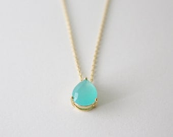 Mint blue drop necklace
