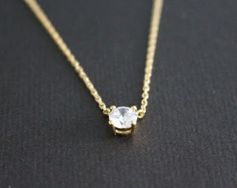 CLEARANCE SALE: 50% OFF - Cubic crystal necklace - minimal
