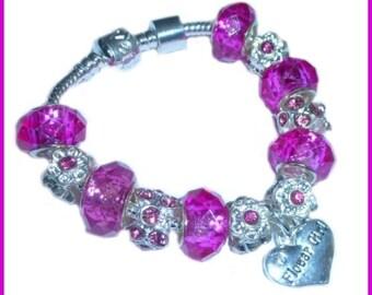 personalised girls/ladies wedding pink and silver charm bracelet