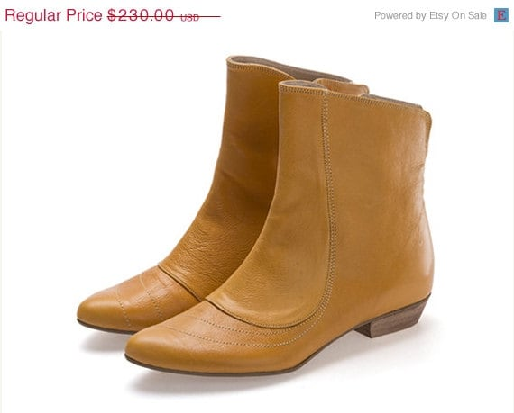 ON SALE Kim mustard, Yellow Boots, Flat Boots, Handmade Shoes, Leather Shoes