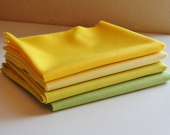 Moda Bella Solid Yellow & Green Fat Quarter bundle - 4 prints, 1 yard total