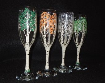 4 Seasons of the Aspen Tree Handpainted Champagne Flutes