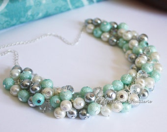 Mint Green and Gray Pearl Cluster Necklace, Mint Green Necklace, Green and Gray Necklace, Pearl Jewelry, Bridesmaids Gifts, Wedding Necklace