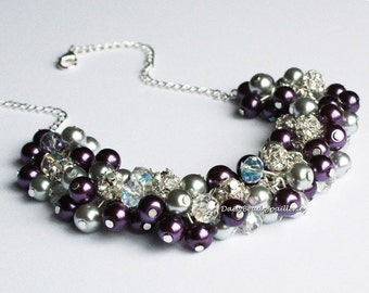 Pearl Cluster Necklace Grey and Purple Necklace Cluster Necklace Purple and Grey Necklace Bridesmaids Gifts Chunky Nekclace Jewelry