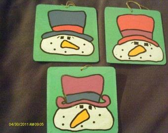 Snowmen Coaster Ornaments - Set of 3