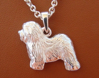 Small Sterling Silver Old English Sheepdog Standing Study Pendant