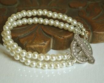 Wedding Bridal Jewelry, Bridal Pearl Bracelet, Brides Bridesmaids, Wedding Pearl Bracelet, Pearl Bracelet, Ivory Pearl Bracelet