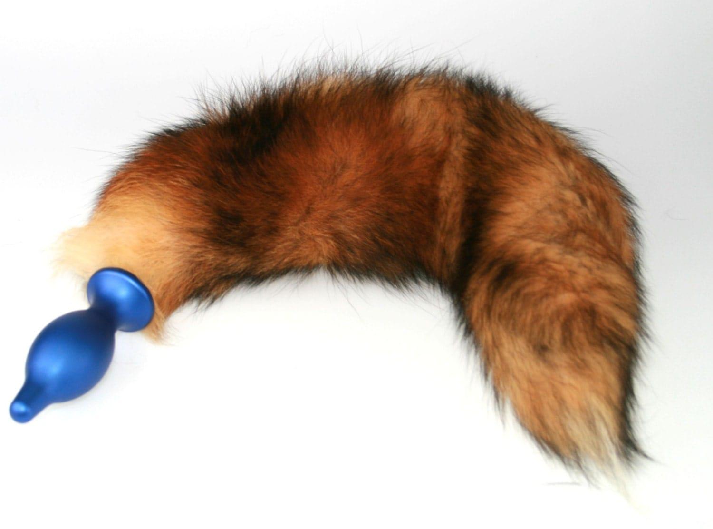 13 Detachable Red Fox Tail Butt Plug Real Fur Heavy