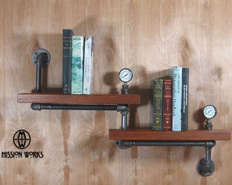 Original Handmade Industrial Machine Age Steampunk Wood and Pipe Wall Shelf With Gauges