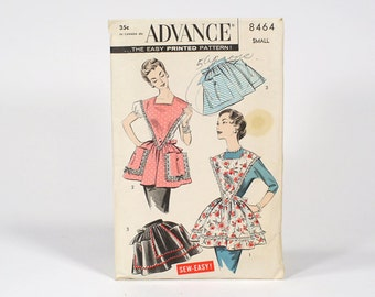 Vintage 1950s ADVANCE Apron Printed Pattern / Half or Bib - Size Small - No. 8464 With Original Sleeve