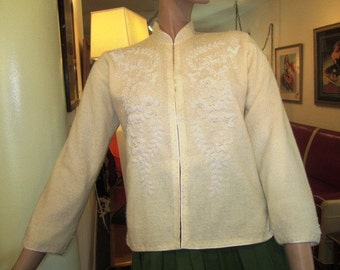 Vintage White on White Lambs Wool and  Angora Beaded Cardigan Sweater, ca 1950s