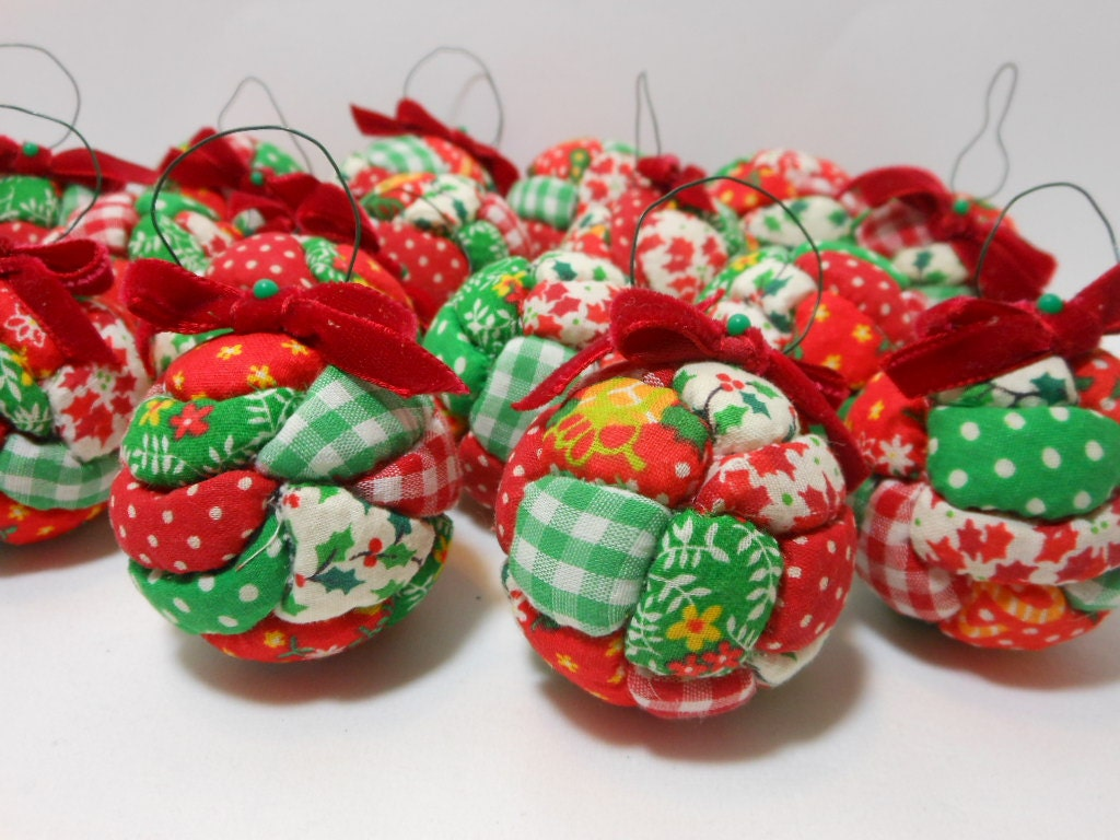 Vintage Christmas Ornaments Fabric Set Of 14 Quilted Styrofoam