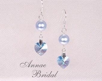 "Aqua blue crystal heart earrings with light blue pearl, bridesmaid earrings, Swarovski, ""True Love"" earrings"