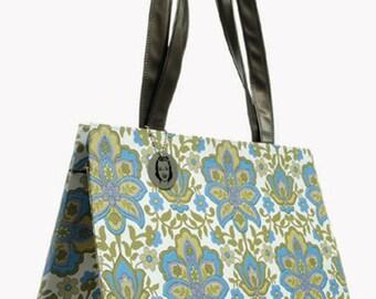 Blue & Green Print Handbag Made in the USA