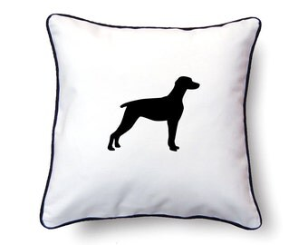 Weimaraner Pillow 18x18 - Weimaraner Silhouette Pillow - Personalized Name or Text Optional