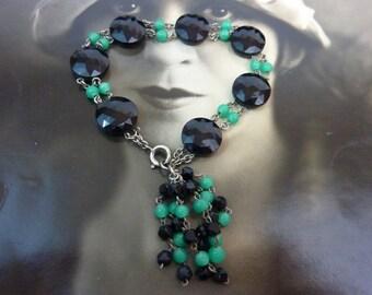 JET BLACK and GREEN Art Deco flapper antique bracelet.