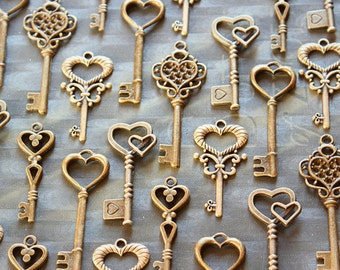 50 Heart Skeleton Key Collection Antiqued Brass Wedding Key Wholesale Lot Bulk Keys Of Spring