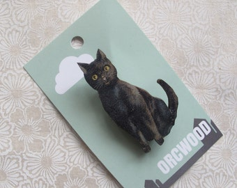 Wood Brooch - Black Cat