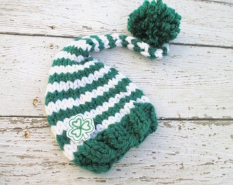 Green and White St Patrick's Day Gnome Elf  Baby Hat Size Newborn to 12 months  Knitted Baby Hat  Photo Prop Shamrock