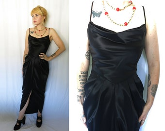 Vintage  1970s Little Black Cocoon Dress- GLAM Party Dress-  Cocktail Evening Gown by David Howard CLIMAX Karen Okada