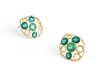 turquoise studs turquoise earrings gold post earrings for women geometric earrings minimalist jewelry colorful jewelry