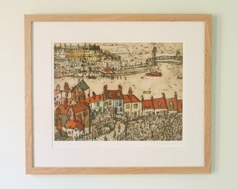 WHITBY ROOFTOPS, North Yorkshire Coast Whitby England, Coastal Fishing Village, Drypoint Print, Limited Edition Giclee print Clare Caulfield