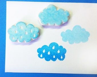 Cloud rubber stamps in raindrops, set of 2 - hand carved rubber stamp, handmade rubber stamp, hand carved stamp, handcarved stamp