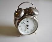 SILVER alarm clock INSA made in Yugoslavia / VINTAGE alarm clock / gray vintage clock / Insa Yugoslavia / not working