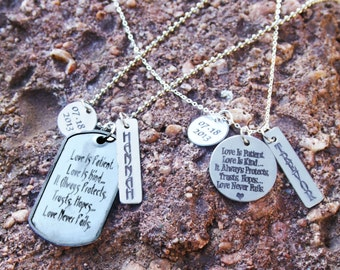 Love is Patient Couples Necklace Set - Personalized Couples Necklace - 1 Corinthians 13 - Personalized Engraved Jewelry