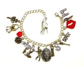Unique Tribute to Marilyn Monroe Handmade Silver Charm Bracelet Red Pouty Lips Some like it hot Seven year itch