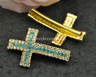 5pcs 23x38mm Gold Plated Blue Rhinestone Sideways Cross Charms Connectors - Cross Charms with Curved Tubes