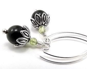 Sterling Silver Earrings - Nephrite Jade and Peridot