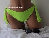 Neon green two sides bow fully lined cheeky bikini bottoms full coverage bikini bottoms swimsuit bikini brazilian bottoms