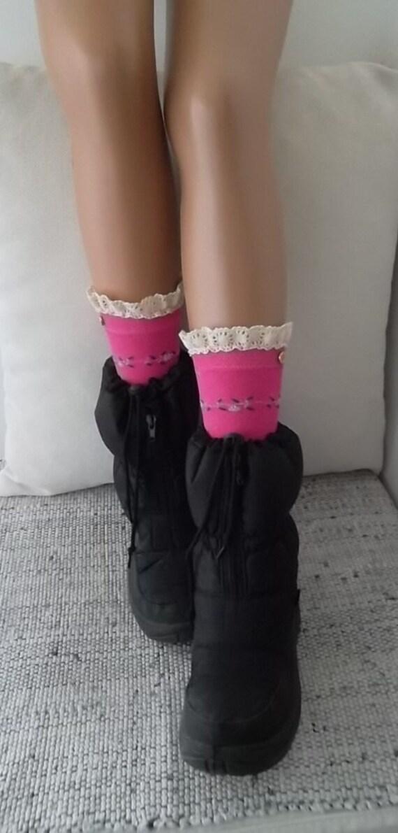 socken boot socken mit spitze kante knopf pink. Black Bedroom Furniture Sets. Home Design Ideas